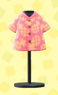 あつ森のパインがらアロハシャツのピンク