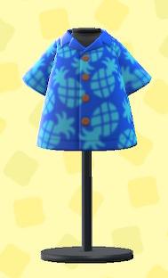 あつ森のパインがらアロハシャツのブルー