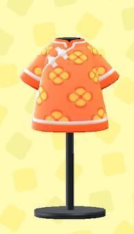 あつ森のはんそでチャイナふくのオレンジ