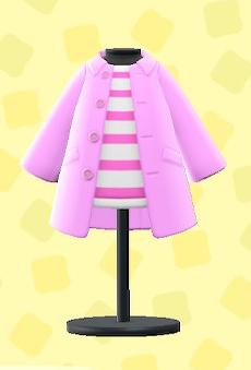 あつ森のステンカラーコートのピンク