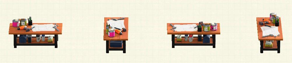 あつ森のアイアンウッドDIYテーブルのリメイクチークパターン