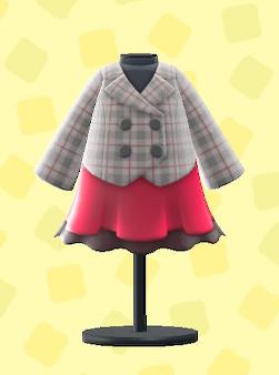 あつ森のスカートつきピーコートのレッド