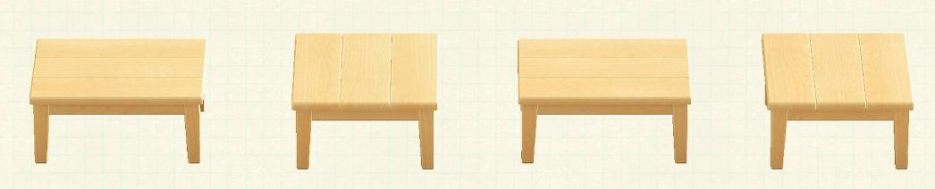 あつ森の木製テーブルのリメイクライトウッドパターン