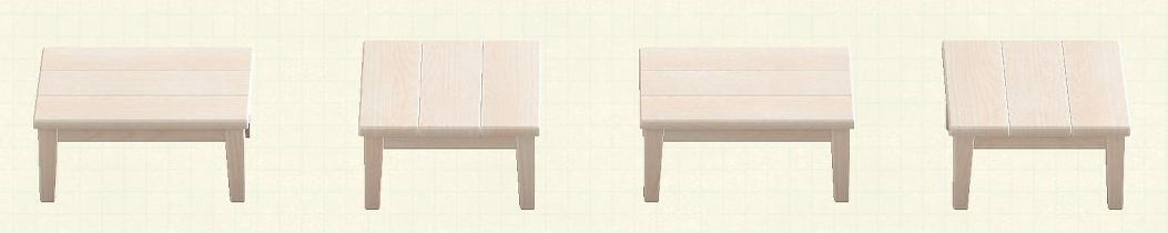 あつ森の木製テーブルのリメイクホワイトウッドパターン