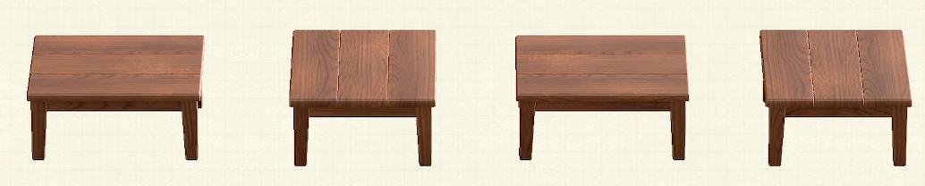 あつ森の木製テーブルのリメイクダークウッドパターン