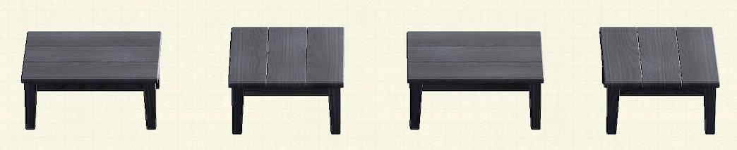 あつ森の木製テーブルのリメイクブラックパターン