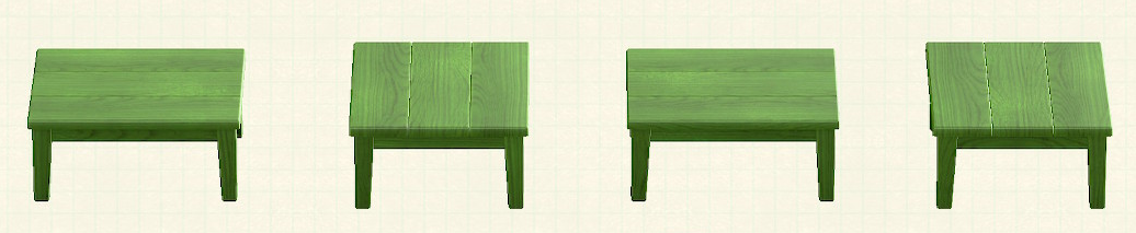 あつ森の木製テーブルのリメイクグリーンパターン