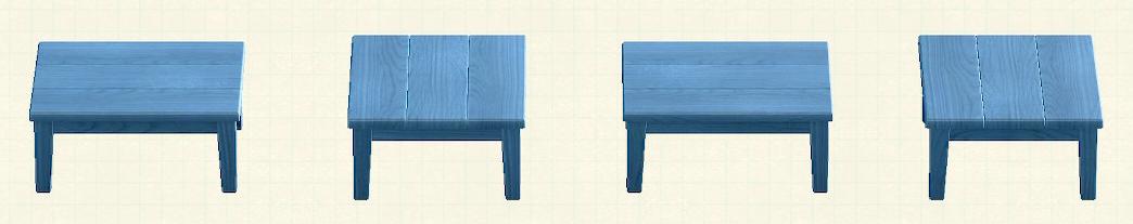 fあつ森の木製テーブルのリメイクブルーパターン