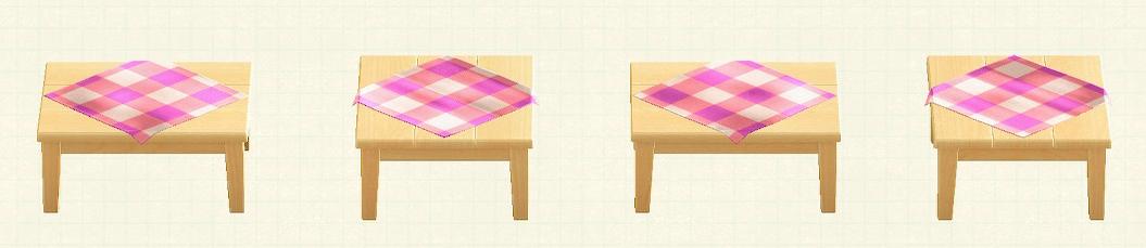 あつ森の木製テーブルのリメイクピンクパターン