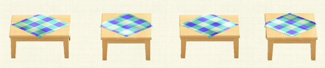 あつ森の木製テーブルのリメイクブルーパターン