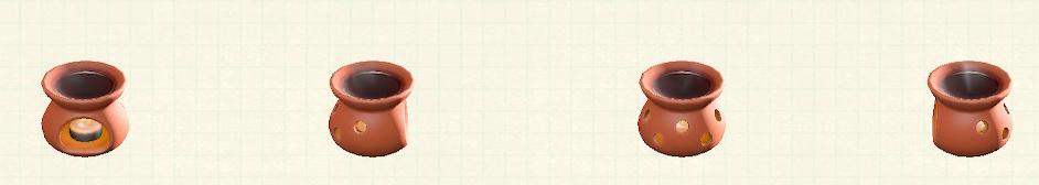 あつ森のアロマポットのリメイクブラウンパターン