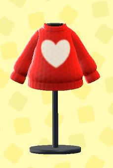 あつ森のハートのセーターのレッド