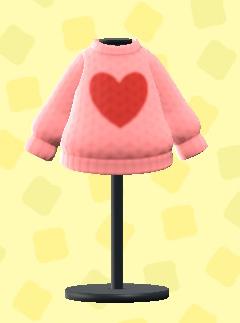 あつ森のハートのセーターのピンク