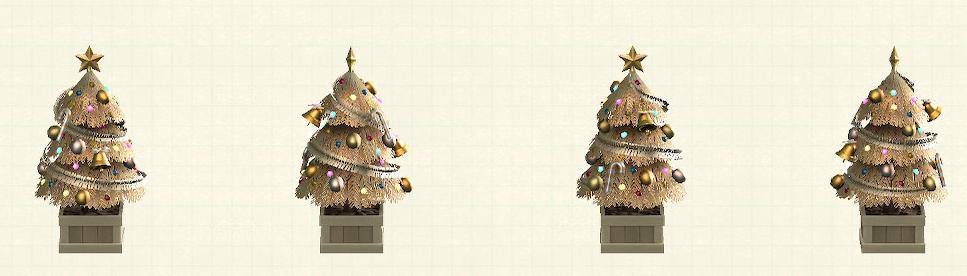 あつ森のかわいいクリスマスツリーのゴールド
