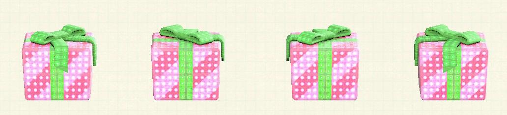あつ森のプレゼントのイルミネーションのピンク×グリーンリボン