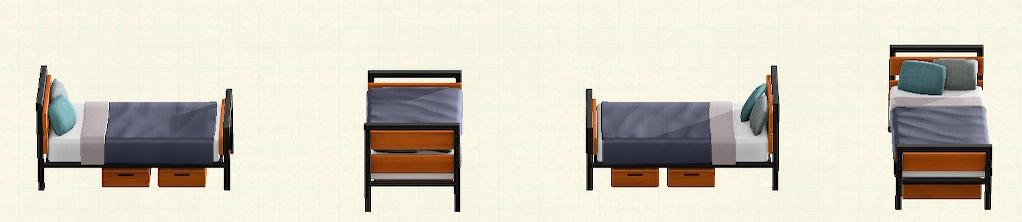 あつ森のアイアンウッドベッドのリメイクチークパターン