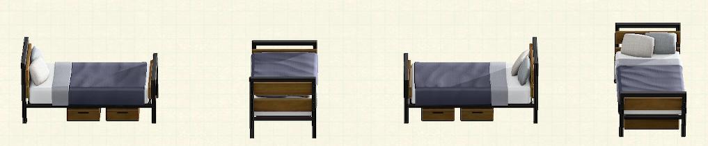 あつ森のアイアンウッドベッドのリメイクウォルナットパターン