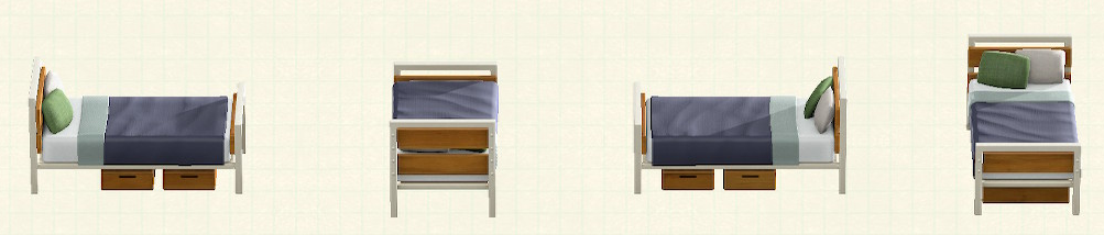 あつ森のアイアンウッドベッドのリメイクオークパターン