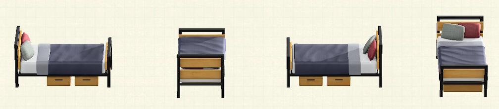 あつ森のアイアンウッドベッドのリメイクネイビーパターン