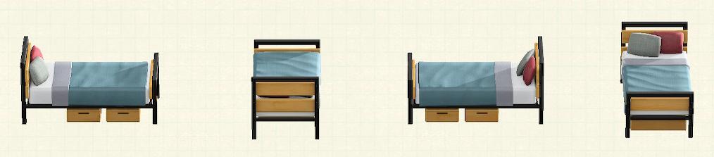 あつ森のアイアンウッドベッドのリメイクブルーグレーパターン