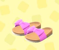 あつ森のリボンサンダルのピンク