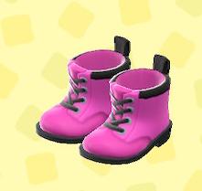 あつ森のワークブーツのピンク