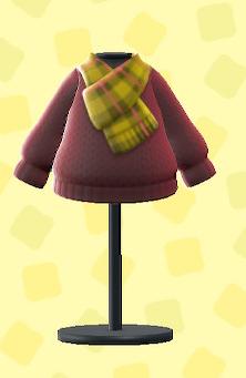 あつ森のチェックマフラーつきセーターのブラウン