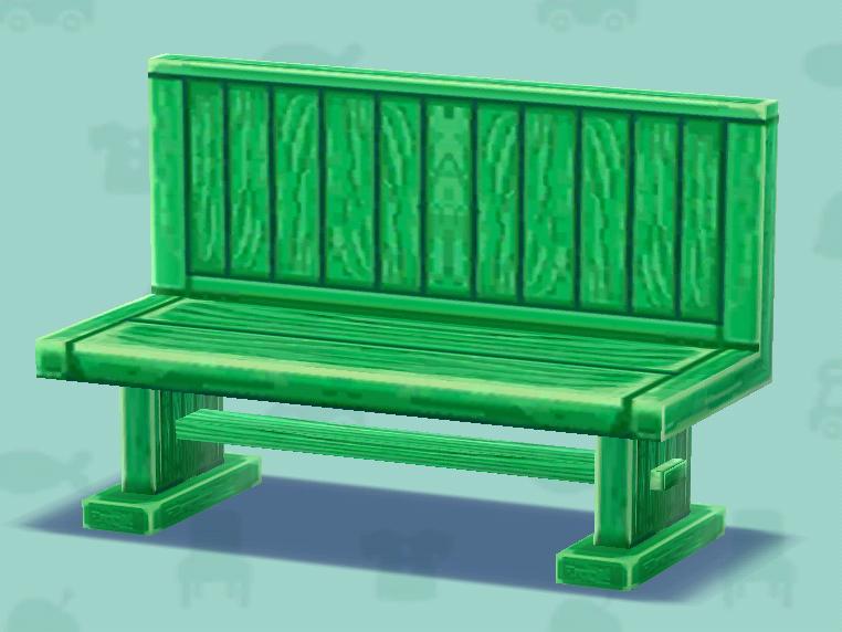 ポケ森の緑の長イス