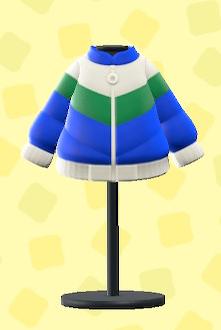 あつ森のスキーダウンジャケットのブルー×グリーン