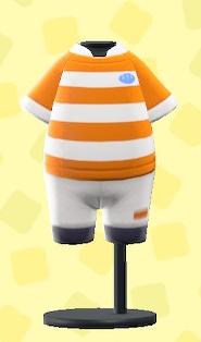 あつ森のラグビーのユニフォームのオレンジ×ホワイト