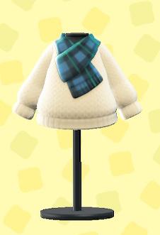 あつ森のチェックマフラーつきセーターのホワイト