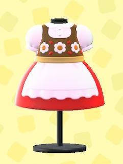 あつ森のチロリアンなドレスのレッド