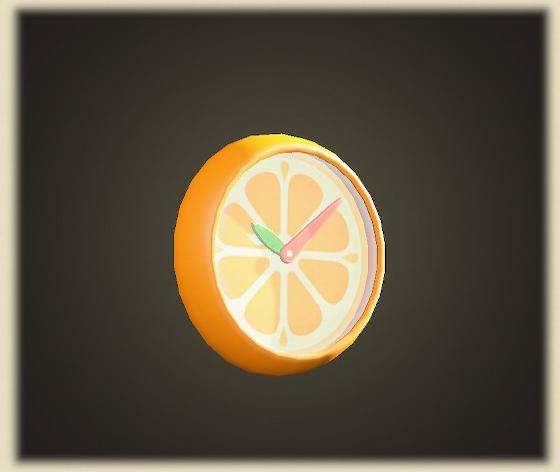 あつ森のオレンジのかべかけどけい