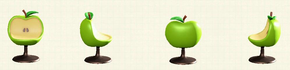 あつ森のリンゴのチェアの青リンゴパターン
