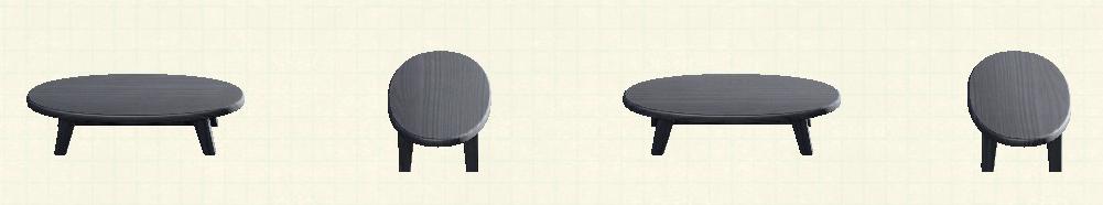 あつ森の木製ローテーブルのリメイクブラックパターン