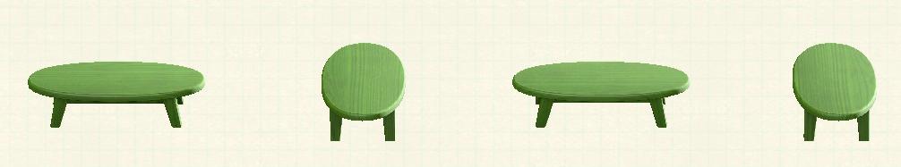 あつ森の木製ローテーブルのリメイクグリーンパターン