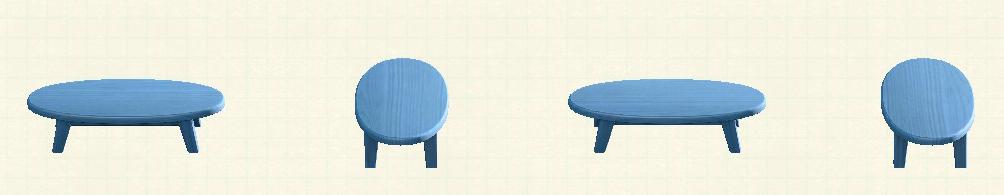 あつ森の木製ローテーブルのリメイクブルーパターン