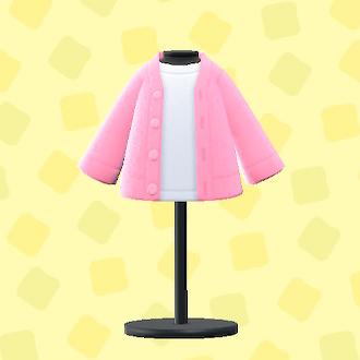あつ森のカーディガン&シャツのピンク