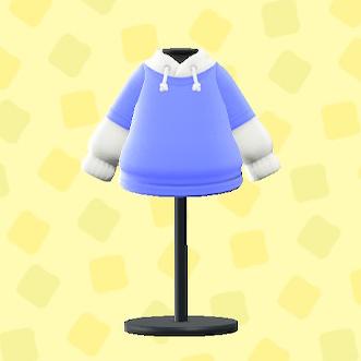 あつ森のパーカーオンTシャツのブルー