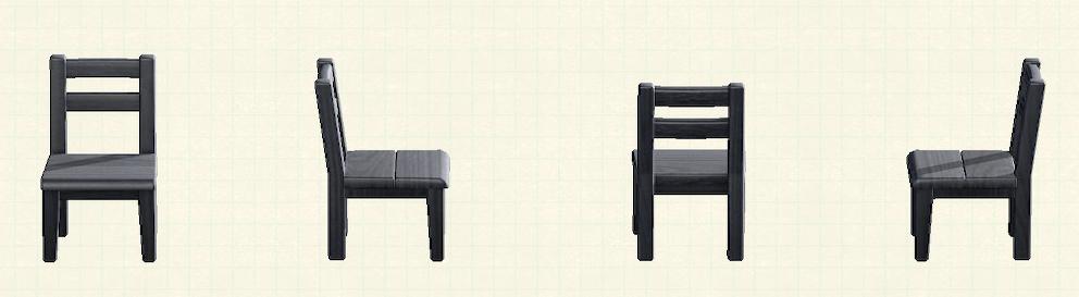 あつ森の木製チェアのブラックのリメイクブラックパターン