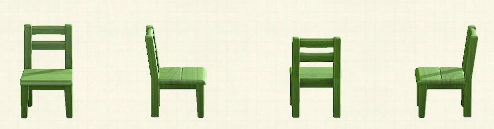 あつ森の木製チェアのリメイクグリーンパターン