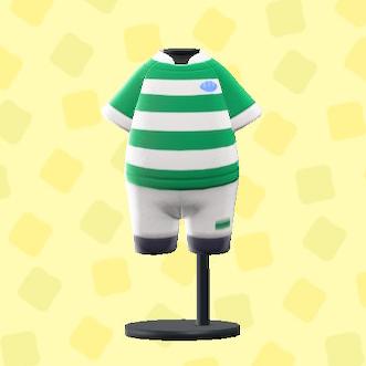 あつ森のラグビーのユニフォームのグリーン×ホワイト