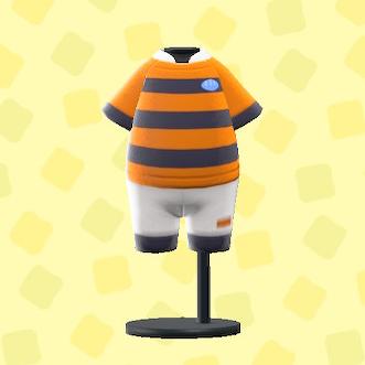 あつ森のラグビーのユニフォームのオレンジ×ブラック
