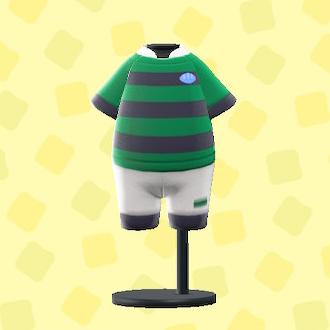 あつ森のラグビーのユニフォームのグリーン×ブラック