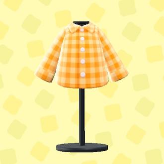 あつ森のギンガムチェックのシャツのオレンジ
