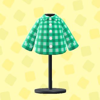 あつ森のギンガムチェックのシャツのグリーン