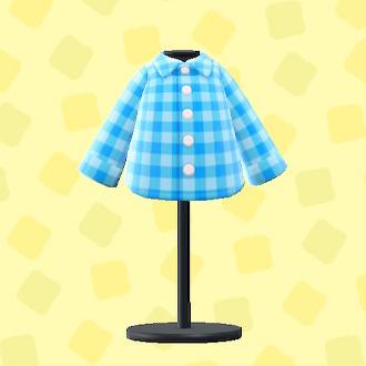 あつ森のギンガムチェックのシャツのライトブルー