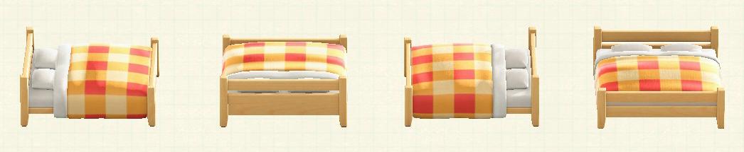 あつ森の木製ダブルベッドのリメイクオレンジパターン