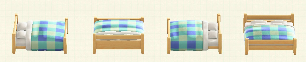 あつ森の木製ダブルベッドのリメイクブルーパターン