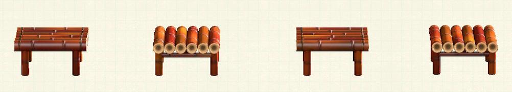 あつ森の竹のスツールのリメイク煤竹パターン